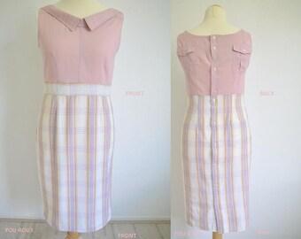 Reconstructed DRESS of 2 menshirtsold pink/checkered, Dutch Design by STUDIO HENKE (EURsize 40)