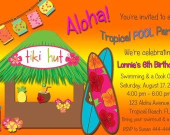 Tropical Pool Party Digital Invitation Personalized Digital Sheet C-441
