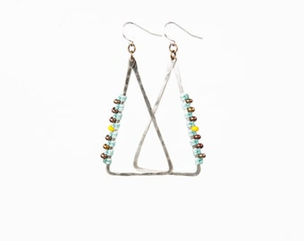Silver Triangle Woven and Beaded Earrings