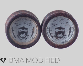 """9/16"""" (14mm) Clear Medusa in Chechen Wood Plugs #3732"""