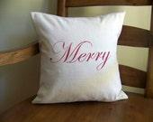 red merry christmas pillow cover- linen - Christmas pillow - christmas pillows - merry christmas - christmas decor - christmas d