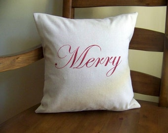free shipping - red merry christmas pillow- linen - Christmas pillow - christmas pillows - merry christmas - christmas decor - christmas d