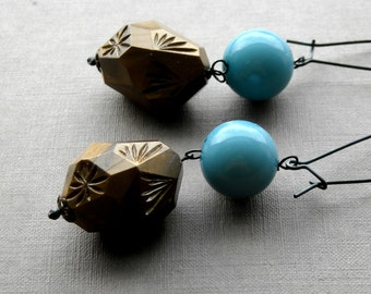 power up earrings - vintage beads and sterling