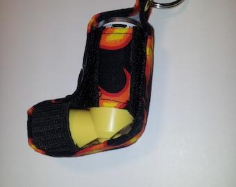 black fabric with flame design inhaler case