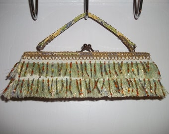 Green and Gold Fringe with Beaded Accents Clutch Purse   Handbag Formal  Prom Homecoming New Years Eve  Great Gift