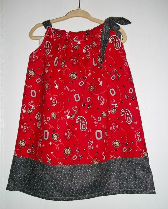 OSU Ohio State Bandana Girls Pillowcase Dress Size 18 24months