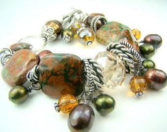 Brown pearl gemstone charm bracelet, African opal gemstone, chunky charm bracelet, fall bracelet... FALLing