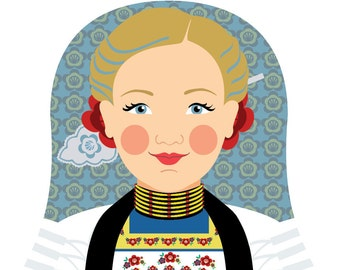 Swiss Wall Art Print featuring culturally traditional dress drawn in a Russian matryoshka nesting doll shape