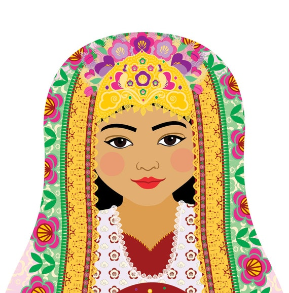 Uzbek Wall Art Print featuring culturally traditional dress drawn in a Russian matryoshka nesting doll shape