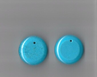 Turquoise Stabilized Bead Pendants.  Pack Of (2) 28x30mm. Was 3.95, Sale 2.95