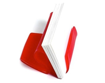 Red Colored Vinyl Record Album Business Card Holder / CD Display / iPhone Stand