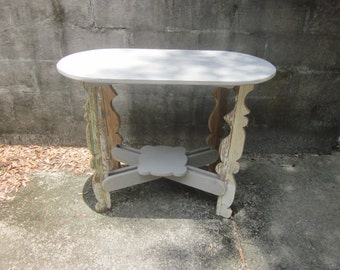 Curvaceous Architectural Salvage Wooden Table with Lower Shelf