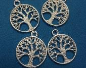 20 pcs - Matte Silver tree of life charm Pendant  - lead free, nickel free, cadmium free