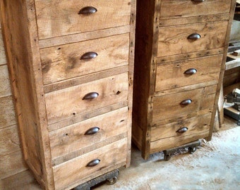 "YOUR Custom Rustic Barn Wood Tall 24"" wide Dresser FREE SHIPPING -CRBTWD750F"