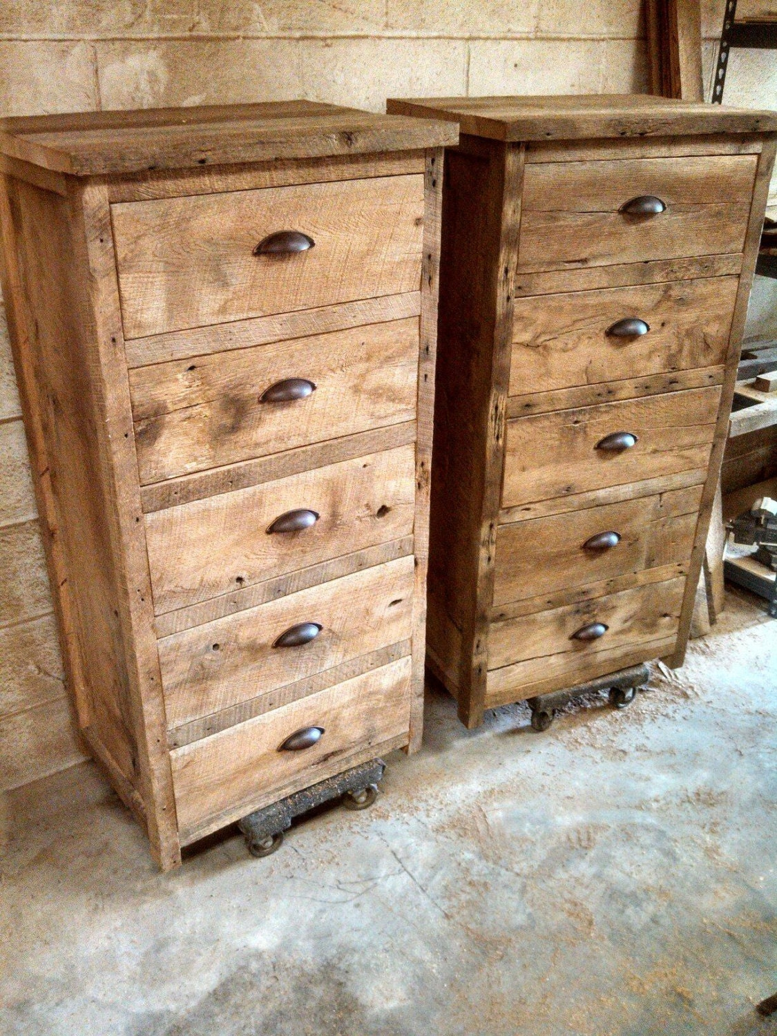 Whinteys custom rustic barn wood tall wide dresser