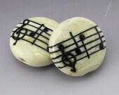 Ivory Cream Music Lentil Black Notes Treble Clef Handmade Lampwork Earring Pair Heather Behrendt BHV SRA LETeam