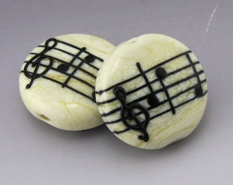 Ivory Cream Music Lentil Black Notes Treble Clef Handmade Lampwork Earring Pair Heather Behrendt BHV SRA LETeam