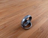 Gibeon Iron Meteorite ring Etched half round / wedding band