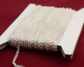 Sterling Silver Plated Chain bulk Chain, 100 ft of Round Soldered Chain Cable Chain - 2x2.5mm SOLDERED link - Necklace Wholesale chain