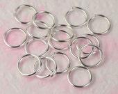 10mm Jump Rings, 50 pcs of Sterling Silver Plated Jump Rings / Jumprings - 10mm 16 gauge 1.2mm Link Connector Open Jump Rings