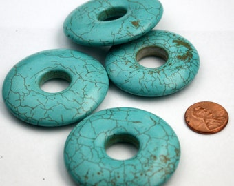 Howlite Turquoise Donut Beads about 2 inch - about  45mm-55mm - ship from California USA