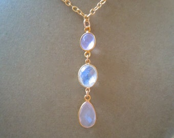 Perfect Pendant Collection -- Rosebud -- Rose Quartz and Rainbow Moonstone Pendant Necklace