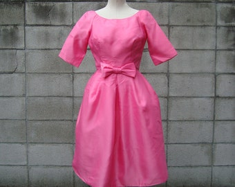 1960s Dress pink party dress