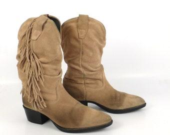 Suede Fringe Boots Vintage 1980s Tan Brown Cowboy Women's size tiny 5