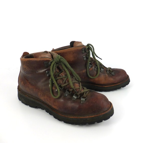 hiking leather boots vintage 1990s danner distressed brown