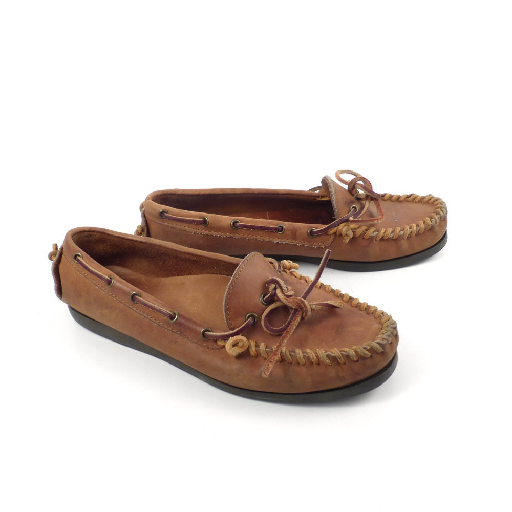 bass shoes loafers vintage 1980s moccasins brown shoes