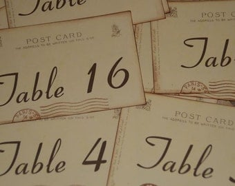 Wedding Table Number Cards,  Vintage Paris Postcard Style, Tables 1-20, Paris Wedding