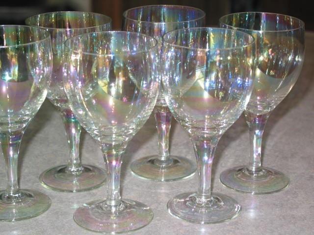 6 Iridescent Stemware Wine Glass Goblet Set Cocktail Barware