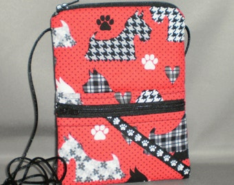 Wallet on a String - Passport Purse - Sling Bag - Scottie Dog - Terrier