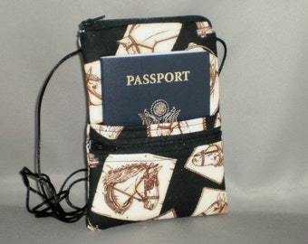 Passport Purse - Sling Bag - Small Mini Purse - Wallet on a String - Horse
