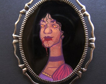 Creatures of the Night CLASSY VAMP III 30 x 40 mm Hand Painted Cameo Pin