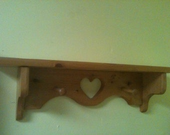 Handmade wooden  decorative 2 pegged wall shelf