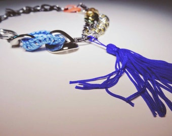 Handmade custom made Multi colour Multi-Chain vintage mix tassle necklace