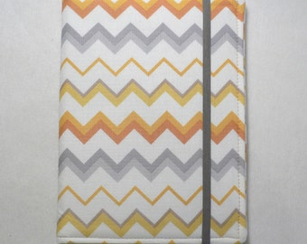 Kindle Cover Hardcover, Kindle Case, Kobo, Nook, Kindle Fire HDX, Kindle Paperwhite, Chevron  in Orange, Gold and Grey