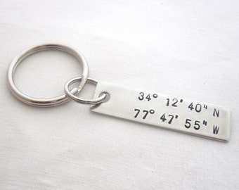 Metal Stamped Personalized Custom Keychain Accessory, Latitude and Longitude, Aluminum, 10th Anniversary, Gift for Him
