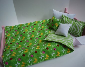 18 Inch American Made Girl Doll Clothes 6 Pc Bedding Set - Pink and Green Butterflies