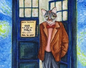 Dr Who Cat, Grey Cat in TARDIS Starry Night, Doctor Cat Fine Art Print 5x7