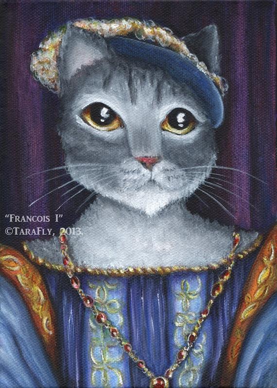 Grey Cat Art, Francois I King of France Medieval Portrait, 5x7 Fine Art Print