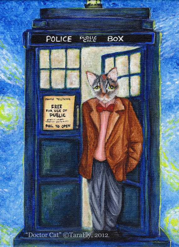 Dr Who Cat 5x7 Fine Art Print