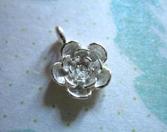 Shop Sale.. ROSE Flower Charm Pendant, Sterling Silver, 1 pc, 12.5x9 mm, 3d nature weddings artisan nature floral brides bridal