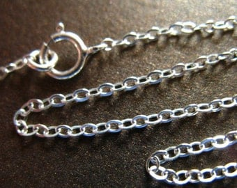 "Sterling Silver Chain, 16 17 18"" Finished Necklace Chain, 2x1.6 mm Flat Cable, wholesale chains, done. d80.d hp"