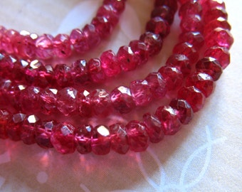 Shop Sale..  25 50 100 pcs, RED SPINEL Rondelles, Luxe AAA, 3-3.5 mm, Gooorgeous Raspberry Red, faceted, wholesale beads exotic rare 35 solo