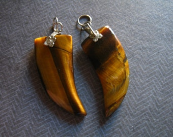 Shop Sale.. 1 pc, HORN Charm Pendant, Tusk Pendant, Tigers Eye Horn, Silver Bail, 32x15 mm, Tribal Boho Bohemian ap ap100.6 solo ap100.10.s