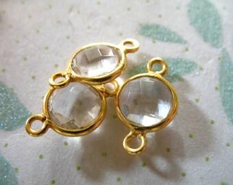 1 10 50 pcs, Gemstone Connectors Links, Bezel Set, 24k Gold Vermeil, 14x8 mm, Clear Crystal Quartz, april birthstone gcl10 gc ll crc