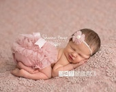 Newborn Girl Photography Props, Old Rose Mauve Pink Chiffon Diaper Cover Newborn Baby - Newborn Photo Props, Bloomers, Ruffle, Bow, Vintage