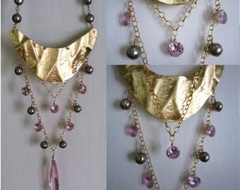 Pink ice and champaign - statement necklace